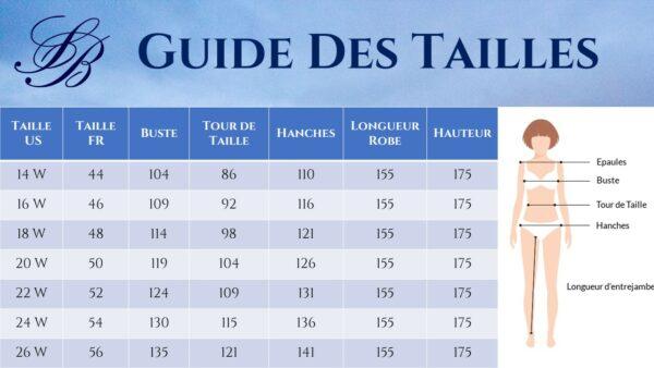Guide des Tailles - Robe De Mariée Courte Chic Blanche Grande Taille | Soirée Blanche