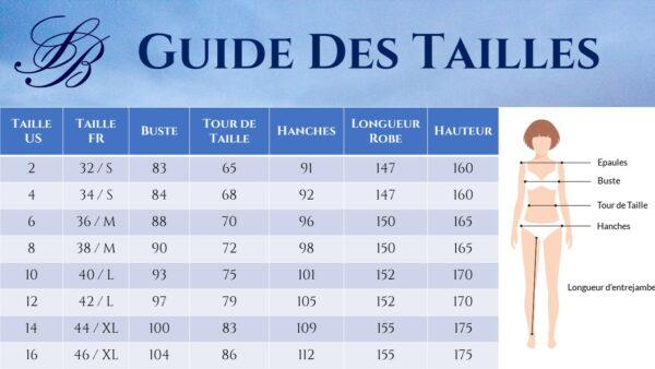 Guide des Tailles - Robe De Mariée Courte Chic Blanche | Soirée Blanche