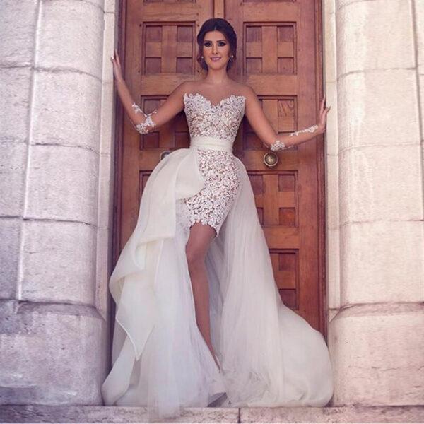 Robe De Mariée Longue Transformable En Courte | Soirée Blanche