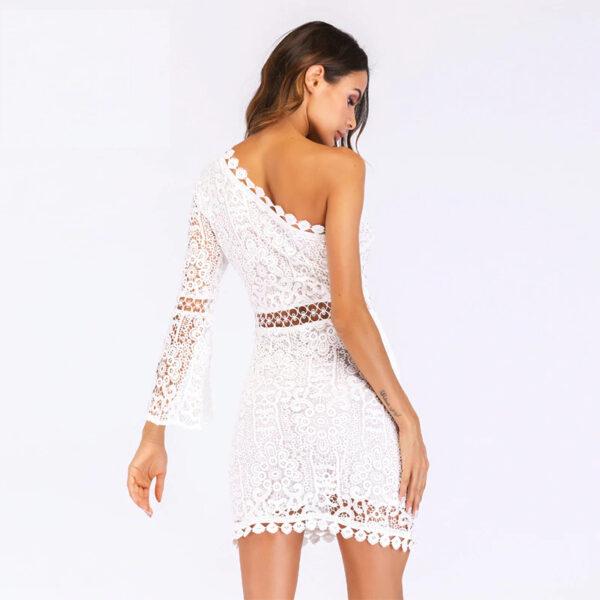 Robe de Soirée Blanche Cocktail Asymétrique | Soirée blanche