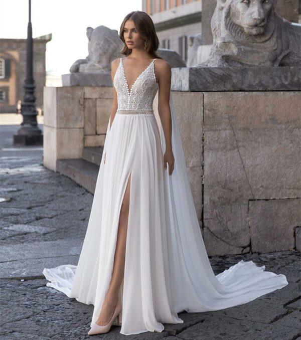 Robe De Mariée Bohème Dos Nu Blanche | Soirée Blanche