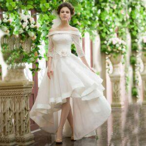 Robe De Mariée Courte Devant Longue Derrière   Soirée Blanche
