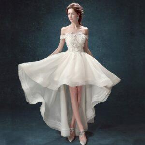 Robe De Mariée Courte Avec Tulle Blanche   Soirée Blanche