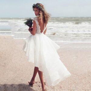 Robe De Mariée Courte Devant   Soirée Blanche