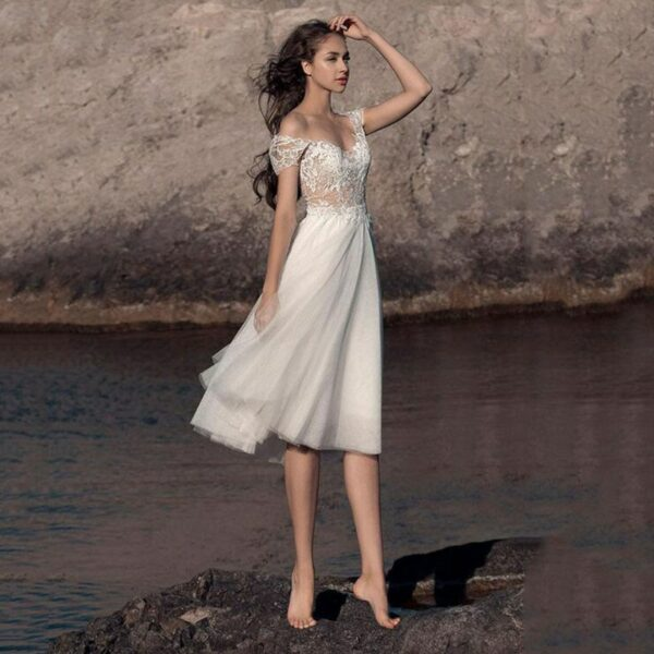 Mariage Civil Robe De Mariée Courte Blanche | Soirée Blanche