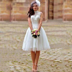 Robe De Mariée Simple Courte Blanche   Soirée Blanche