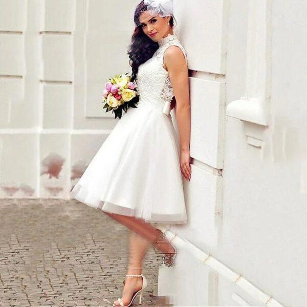 Robe De Mariée Simple Courte Blanche | Soirée Blanche