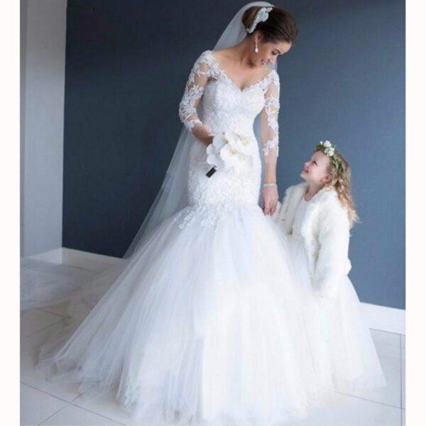 Robe De Mariée Sirène Tulle Blanche | Soirée Blanche