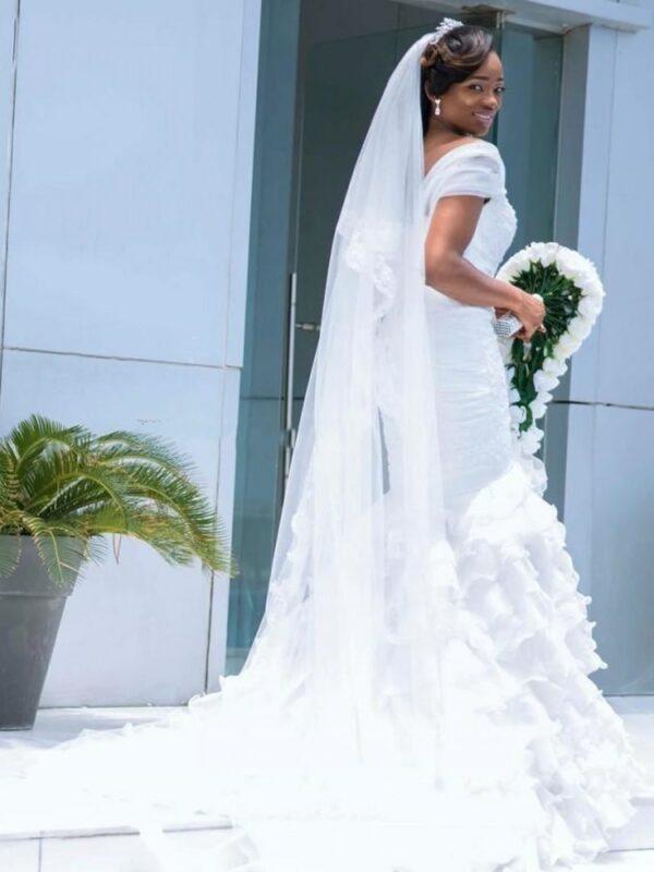 Robe De Mariée Sirène A Volants Blanche | Soirée Blanche