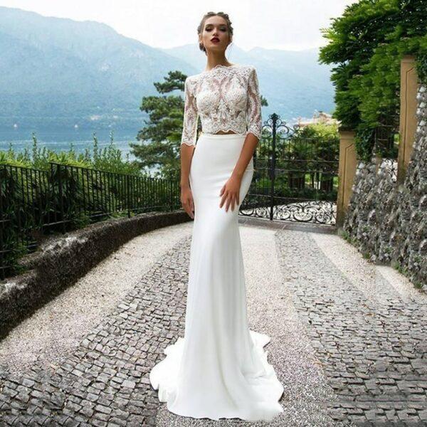 Robe De Mariée Jupe Et Haut | Soirée Blanche