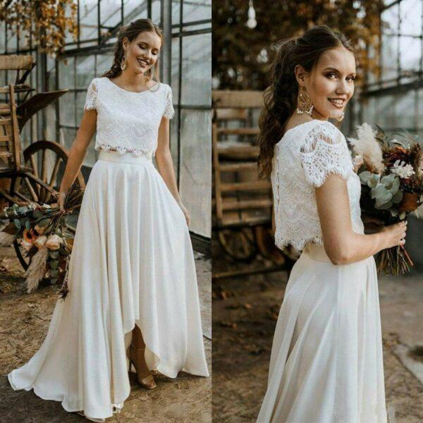 Robe De Mariée Jupe Et Haut Dentelle Blanche | Soirée Blanche