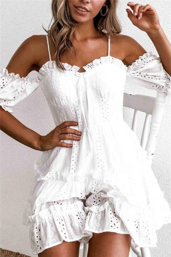 Robe Blanche En Dentelle Épaule Dénudée   Soirée Blanche
