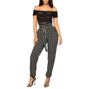 Pantalon Femme Rayé Noir Et Blanc | Soirée Blanche