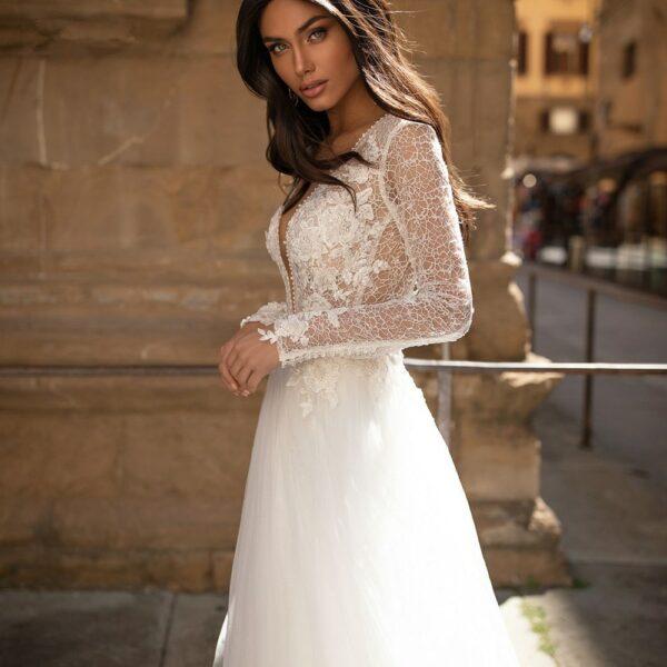 Robe De Mariée Princesse Manches Longues Blanche | Soirée Blanche