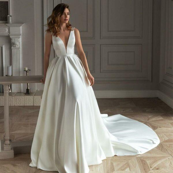 Robe De Mariée Princesse Blanche Avec Perles   Soirée Blanche