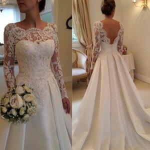 Robe De Mariée Princesse Bustier A Manches Longues Blanche | Soirée Blanche