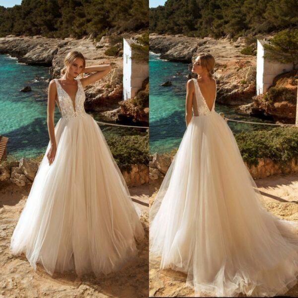 Robe De Mariée Princesse Col V Blanche | Soirée Blanche