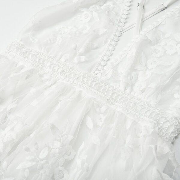 Robe Blanche en Dentelle Dos Nu | Soirée Blanche