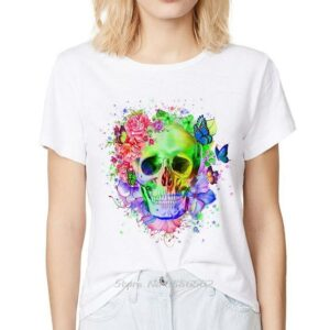 Tee Shirt Blanc Tête De Mort | Soirée Blanche
