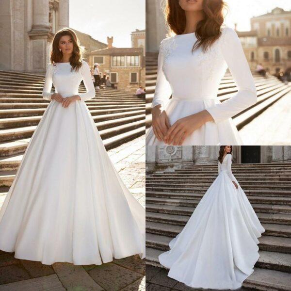 Robe De Mariée Princesse Simple A Manches Longues | Soirée Blanche