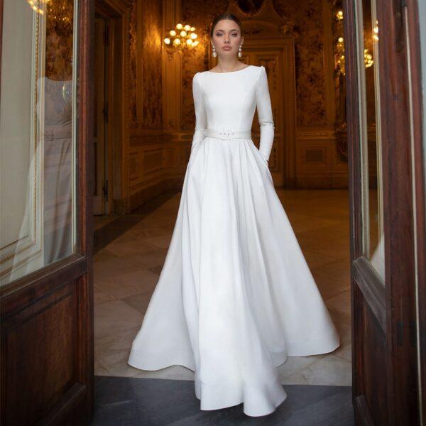 Robe De Mariée Manche Longue Blanche | Soirée Blanche