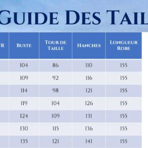 Guide des Tailles - Robe De Mariage Bohème Grandes Tailles - Soirée Blanche
