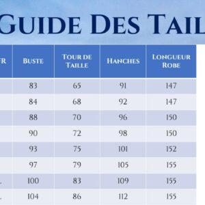 Guide des Tailles - Robe De Mariée Courte Bohème - Soirée Blanche