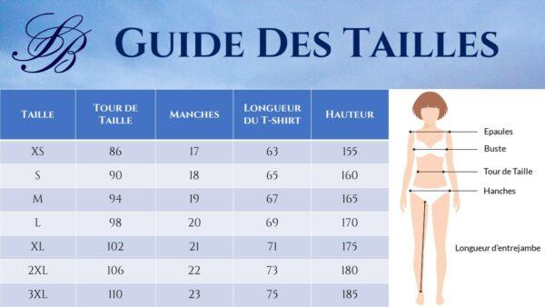 Guide des Tailles - T-shirt Cœur Femme Blanc - Soirée Blanche