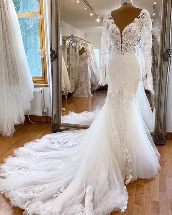 Robe De Mariée Sirène Manche Longue Blanche | Soirée Blanche