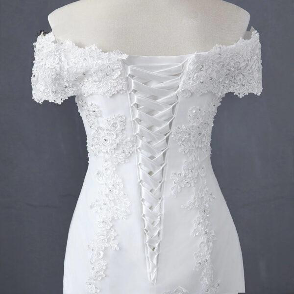 Robe De Mariée Sirène Blanche Manches Tombantes | Soirée Blanche
