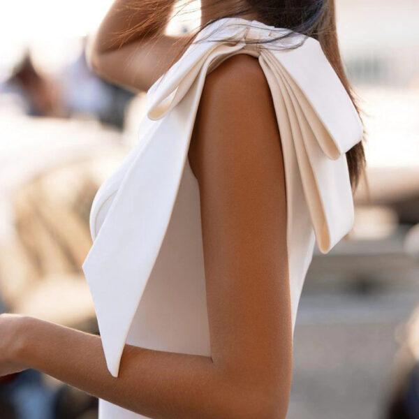 Robe De Mariée Sirène Asymétrique Blanche | Soirée Blanche