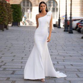 Robe De Mariée Sirène Asymétrique Blanche   Soirée Blanche