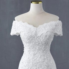 Robe De Mariée Sirène Blanche Manches Tombantes   Soirée Blanche