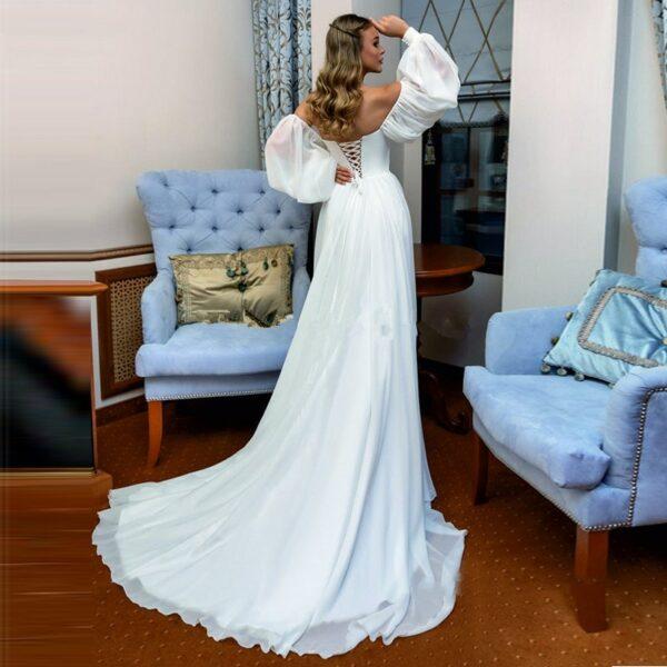 Robe De Mariée Bohème Manche Longue Blanche | Soirée Blanche