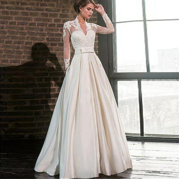 Robe De Mariée en Satin | Soirée Blanche