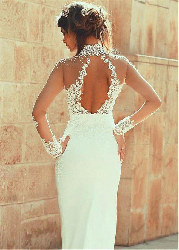 Robe De Mariée Empire Avec Perles Blanche | Soirée Blanche