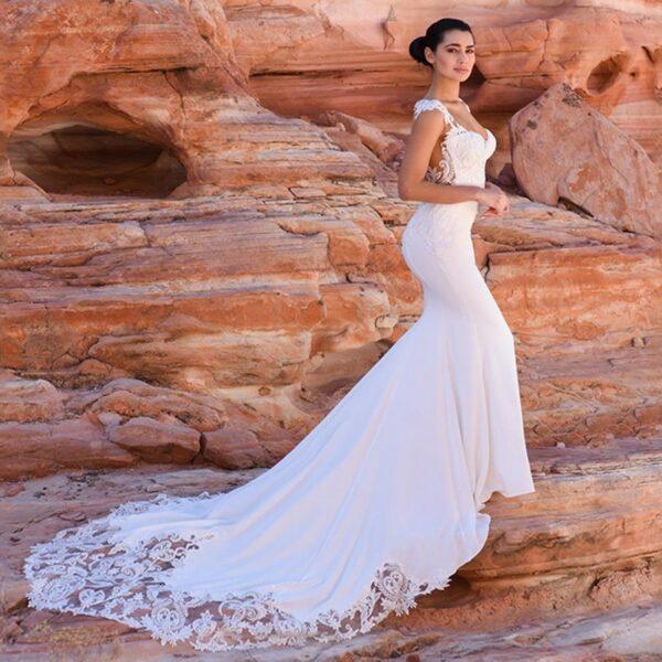 Robe De Mariée Sirène Dos Illusion Blanche | Soirée Blanche