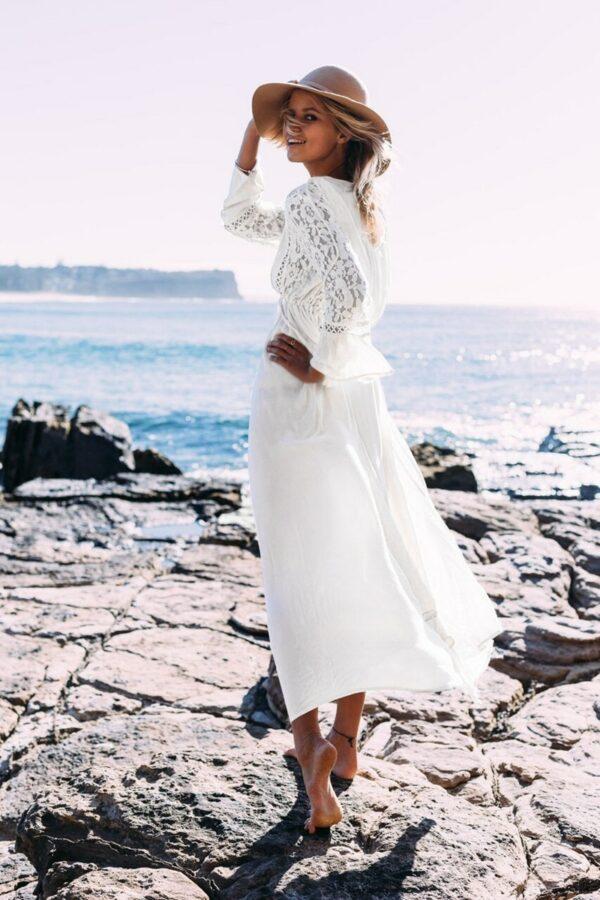 Robe Longue Bohème Blanche   Soirée Blanche