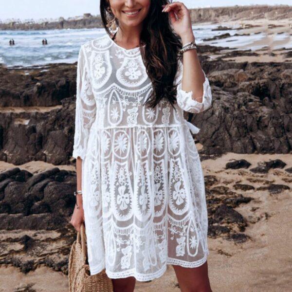 Robe Blanche Hippie Transparente | Soirée Blanche