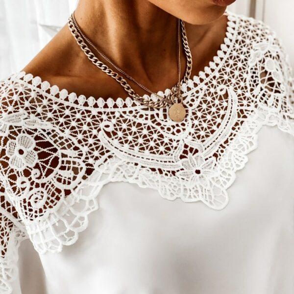 Haut Blanc Avec Broderie   Soirée Blanche