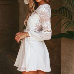Robe Blanche Courte Manches Longues   Soirée Blanche