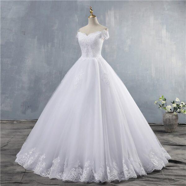 Robe De Mariée Princesse Manches Tombantes Blanche | Soirée Blanche