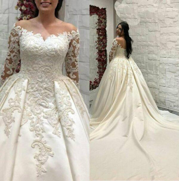 Robe De Mariée En Satin Blanche | Soirée Blanche