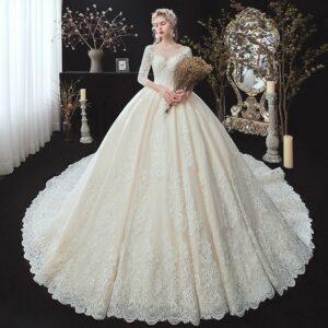 Robe De Mariée Longue Traîne | Soirée Blanche