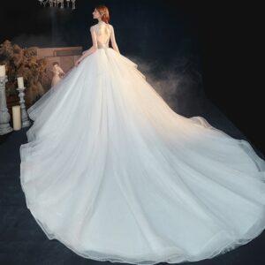 Robe De Mariée Princesse Avec Perles Blanche | Soirée Blanche