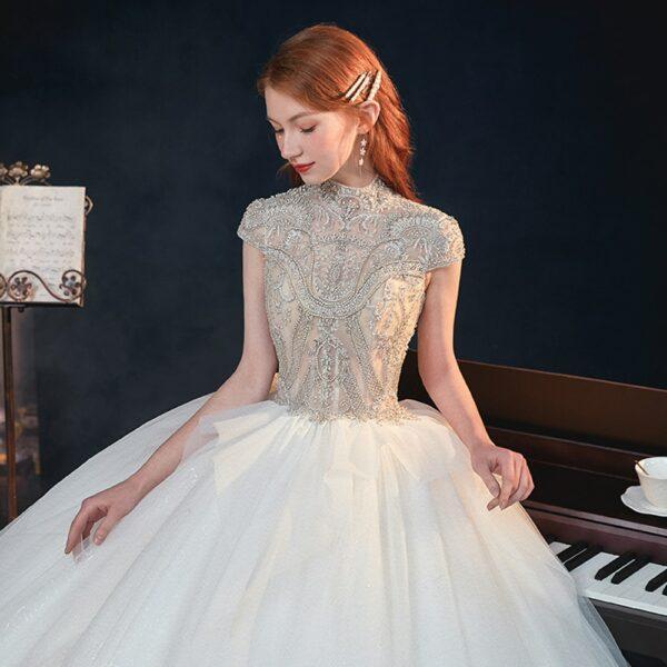 Robe De Mariée Princesse Avec Perles Blanche   Soirée Blanche