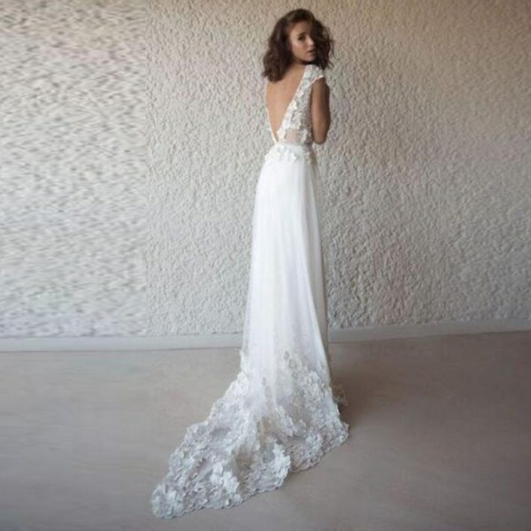 Robe De Mariée Fourreau Florale Blanche | Soirée Blanche