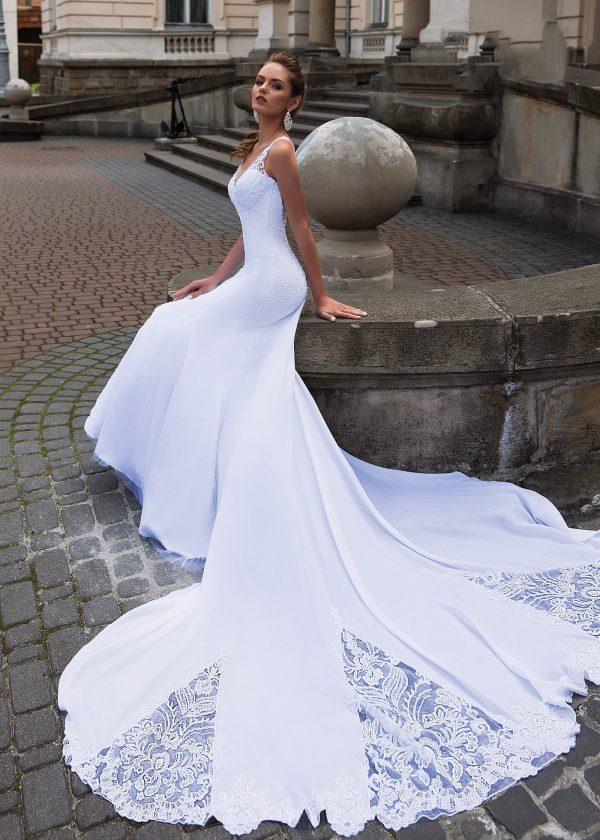 Robe De Mariée Sirène Longue Traine   Soirée Blanche