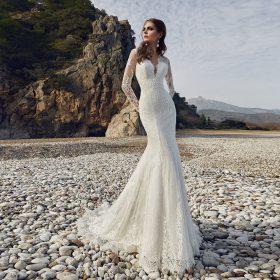 Robe De Mariée Sirène Dentelle Manche Longue Blanche   Soirée Blanche