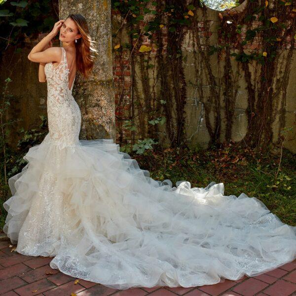 Robe De Mariée Trompette A Volants Blanche | Soirée Blanche